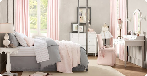 gray and pink twin girl bedroom ideas Patience grasshopper (kids room inspiration) from Thrifty